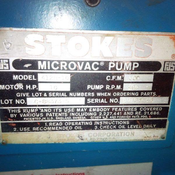 412 Dual Vacuum Pump Data Plate